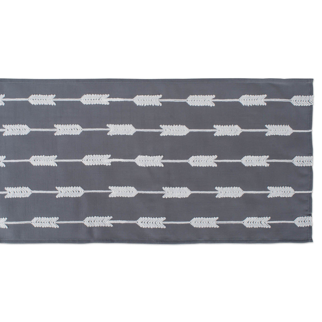 DII Gray Base Embroidered Arrow Fletching Table Runner, 14x70""
