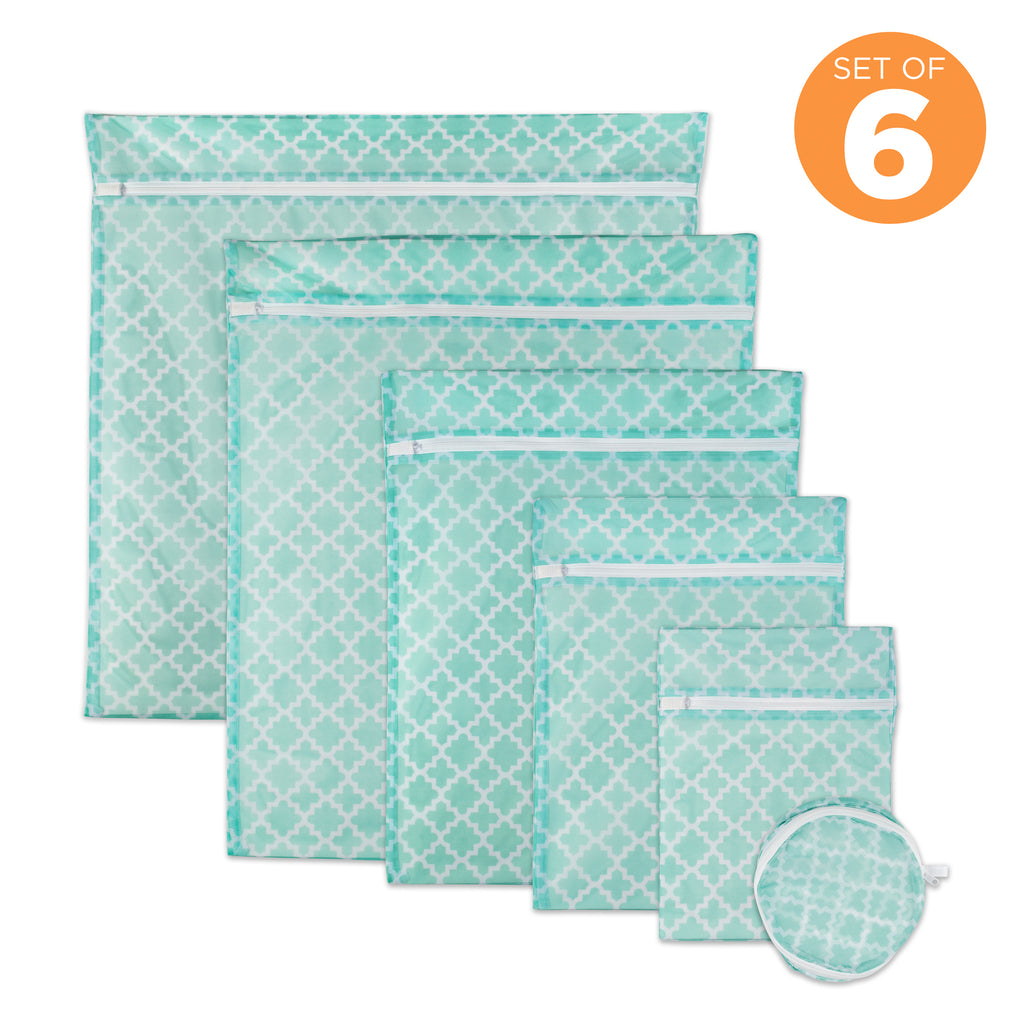 DII Aqua Lattice Set B Mesh Laundry Bag (Set of 6)