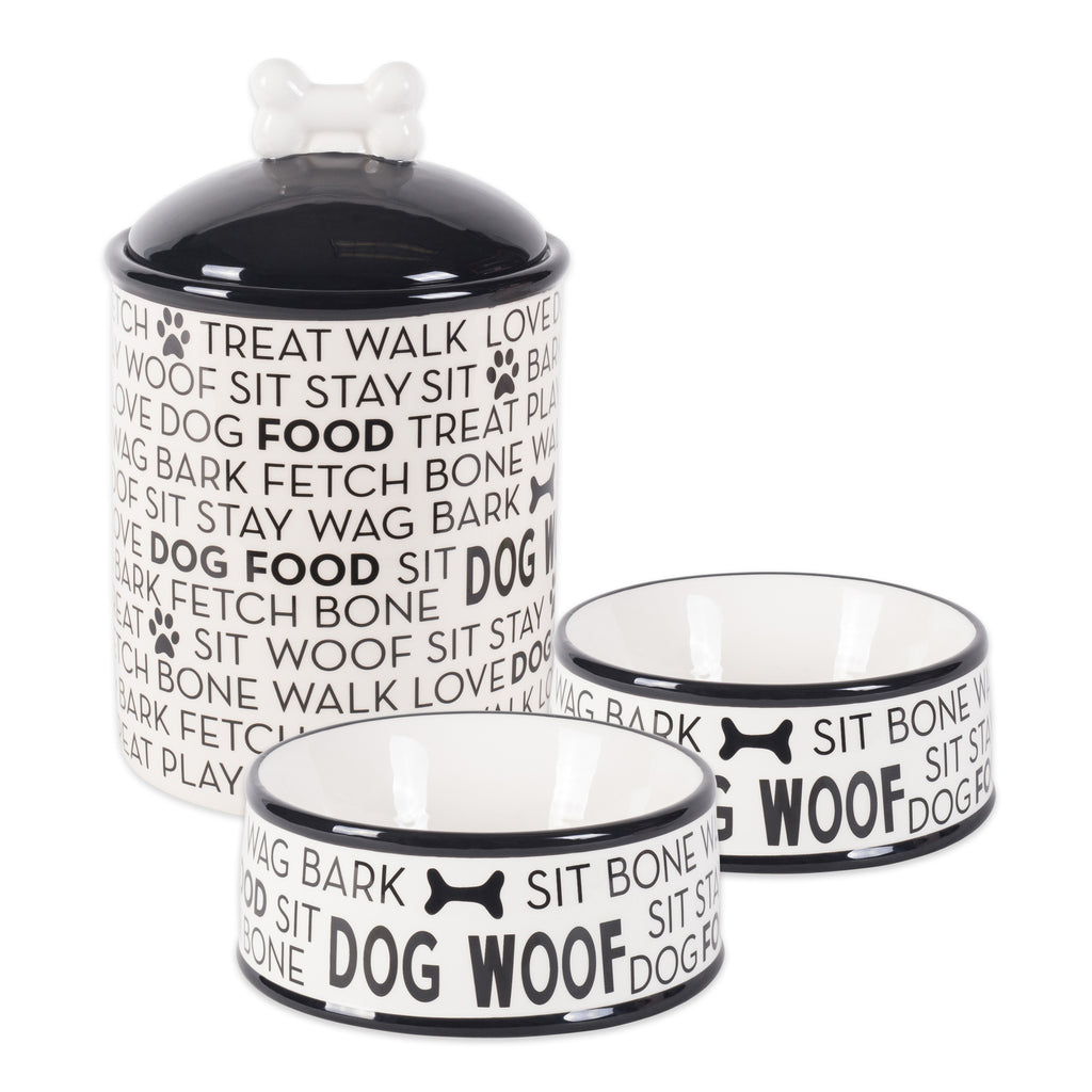 Black Dog Text Ceramic Medium Pet Bowls & Cannister Set/3