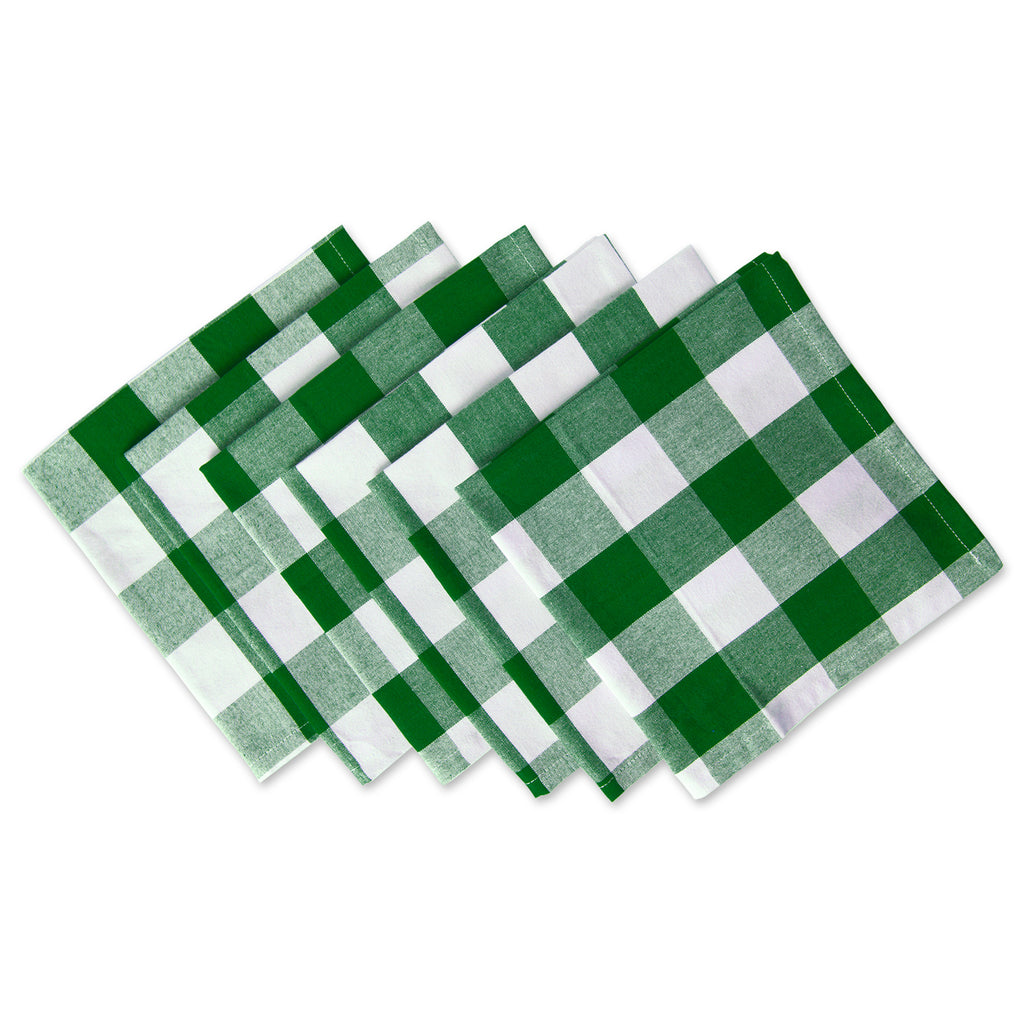 Shamrock Green Buffalo Check Napkin Set/6