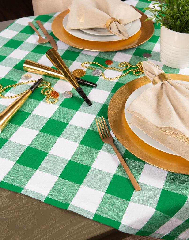 DII Shamrock Green Buffalo Check Tablecloth