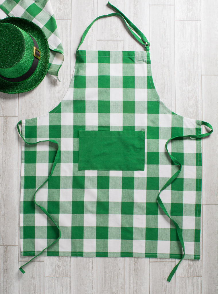DII Shamrock Green Buffalo Check Chef Apron