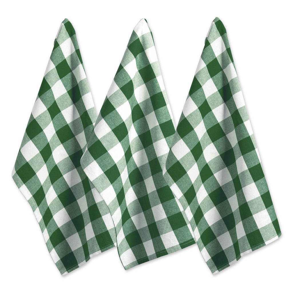 Shamrock Green Buffalo Check Dishtowel Set/3