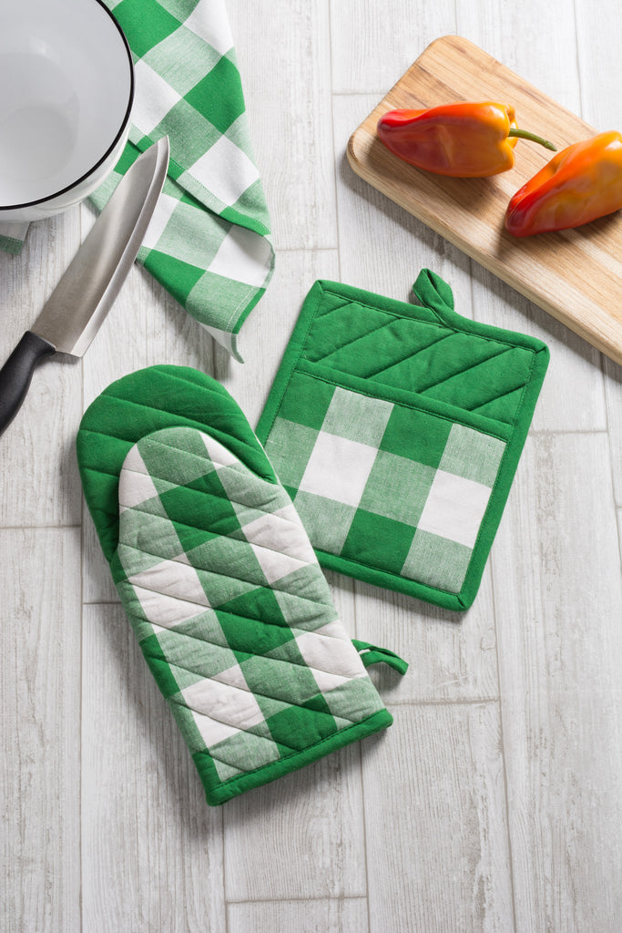 DII Shamrock Green Buffalo Check Oven Mitt (Set of 2)