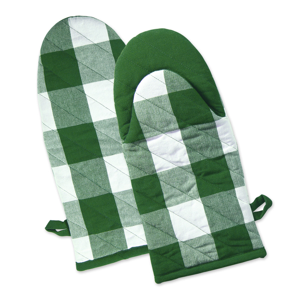 Shamrock Green Buffalo Check Oven Mitt Set/2