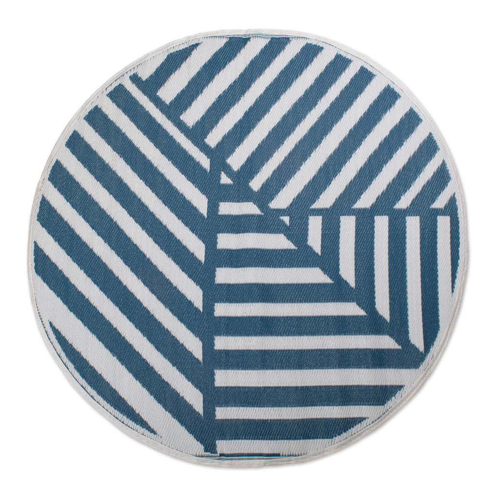 DII Blue Geometric Outdoor Rug 5 Ft Round