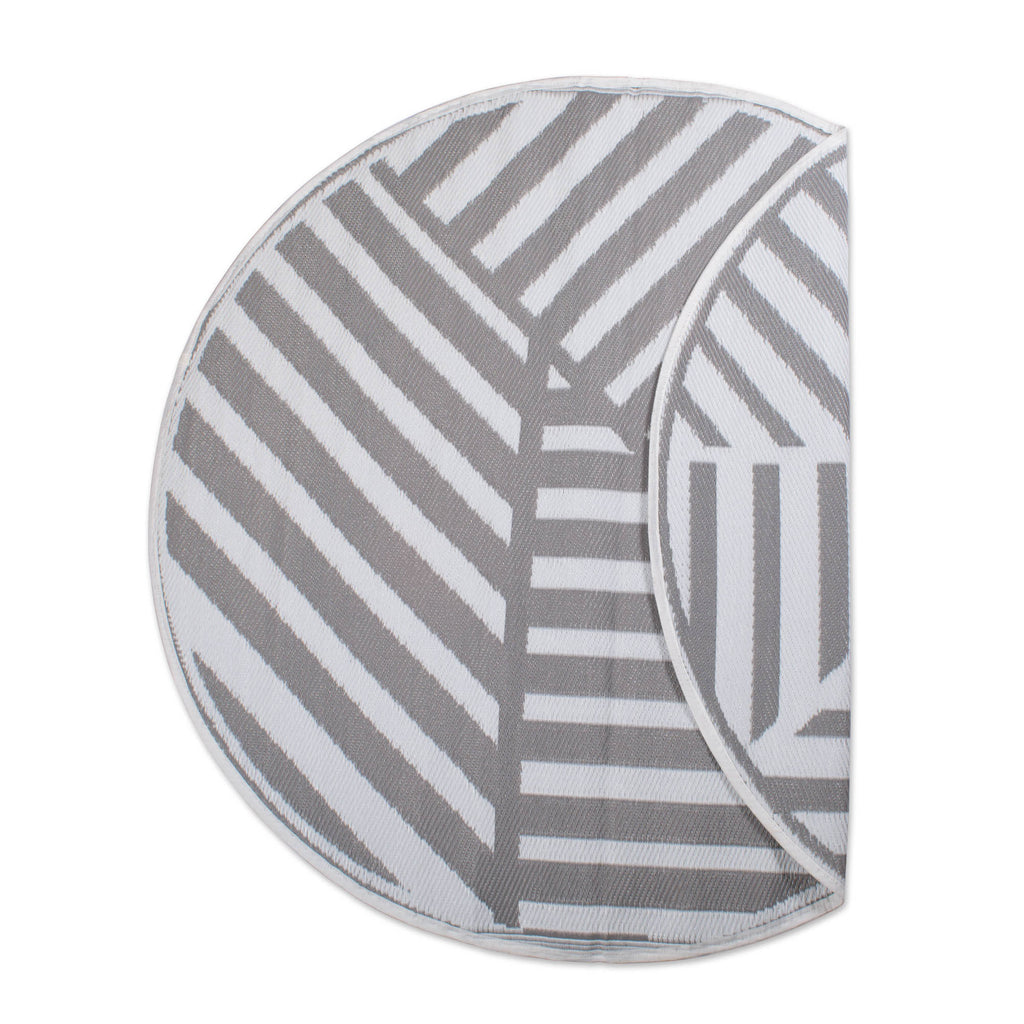 Gray Geometric Outdoor Rug 5 Ft Round
