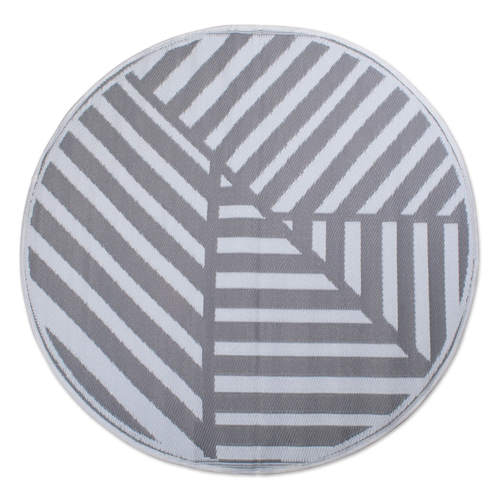 DII Gray Geometric Outdoor Rug 5 Ft Round