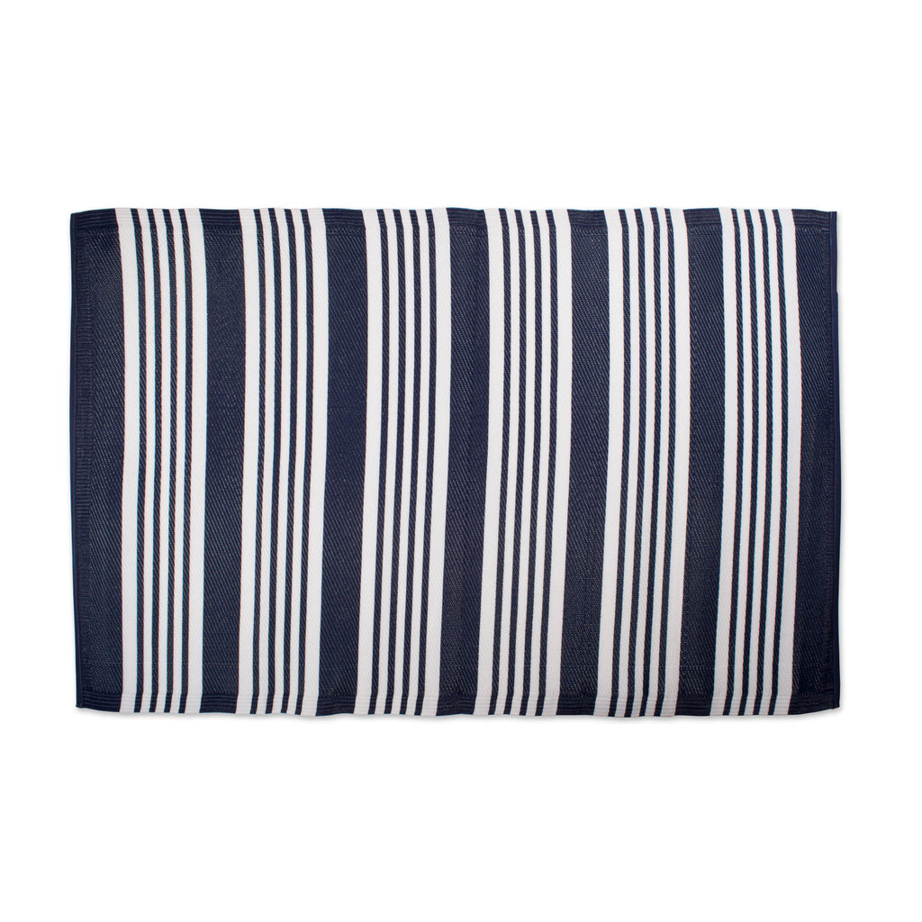 Nautical Blue Multi Stripe Outdoor Rug 4x6 Ft