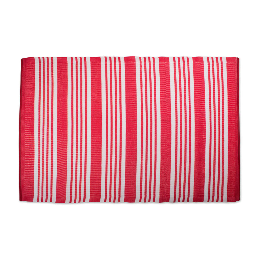 Coral Multi Stripe Outdoor Rug 4x6 Ft