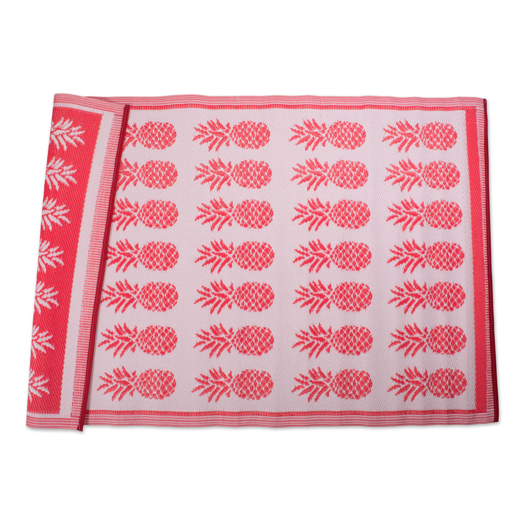 Coral Pineapple Outdoor Rug 4x6 Ft