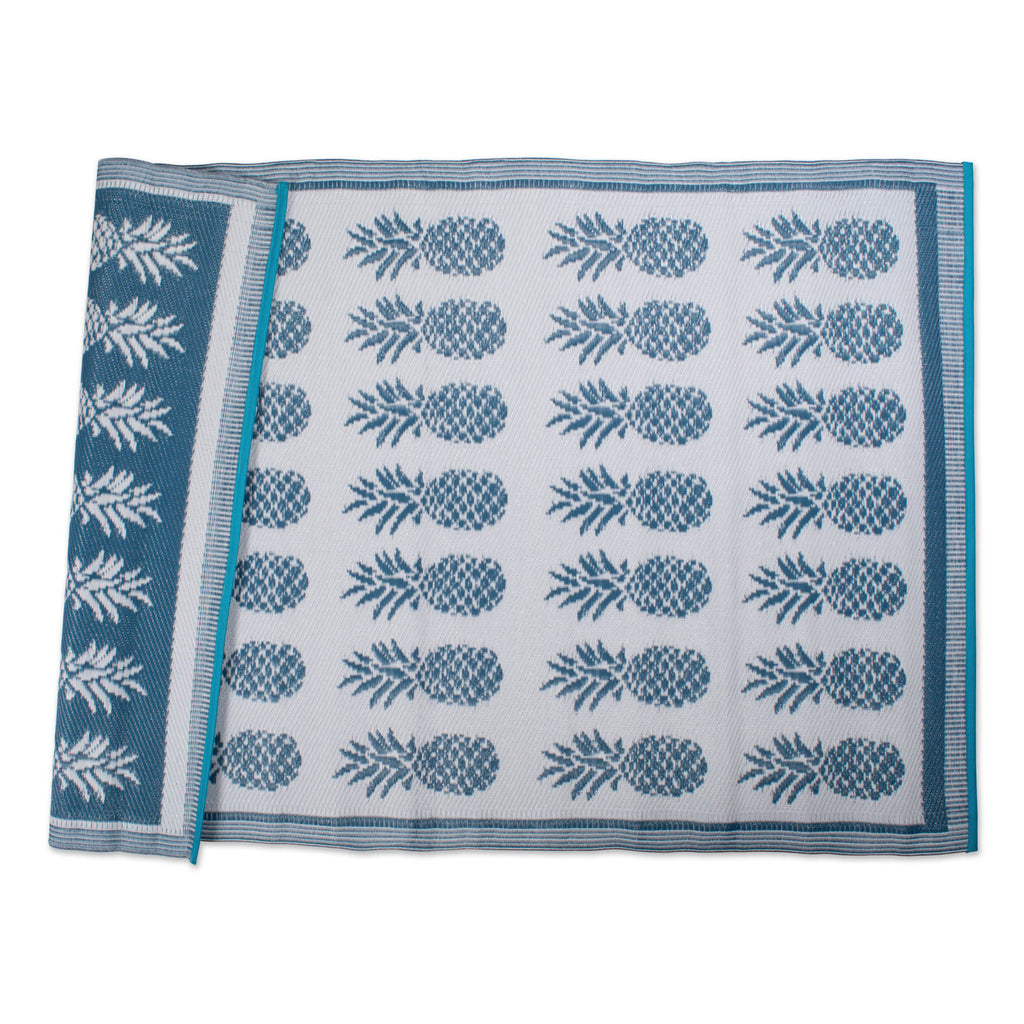 Blue Pineapple Outdoor Rug 4x6 Ft