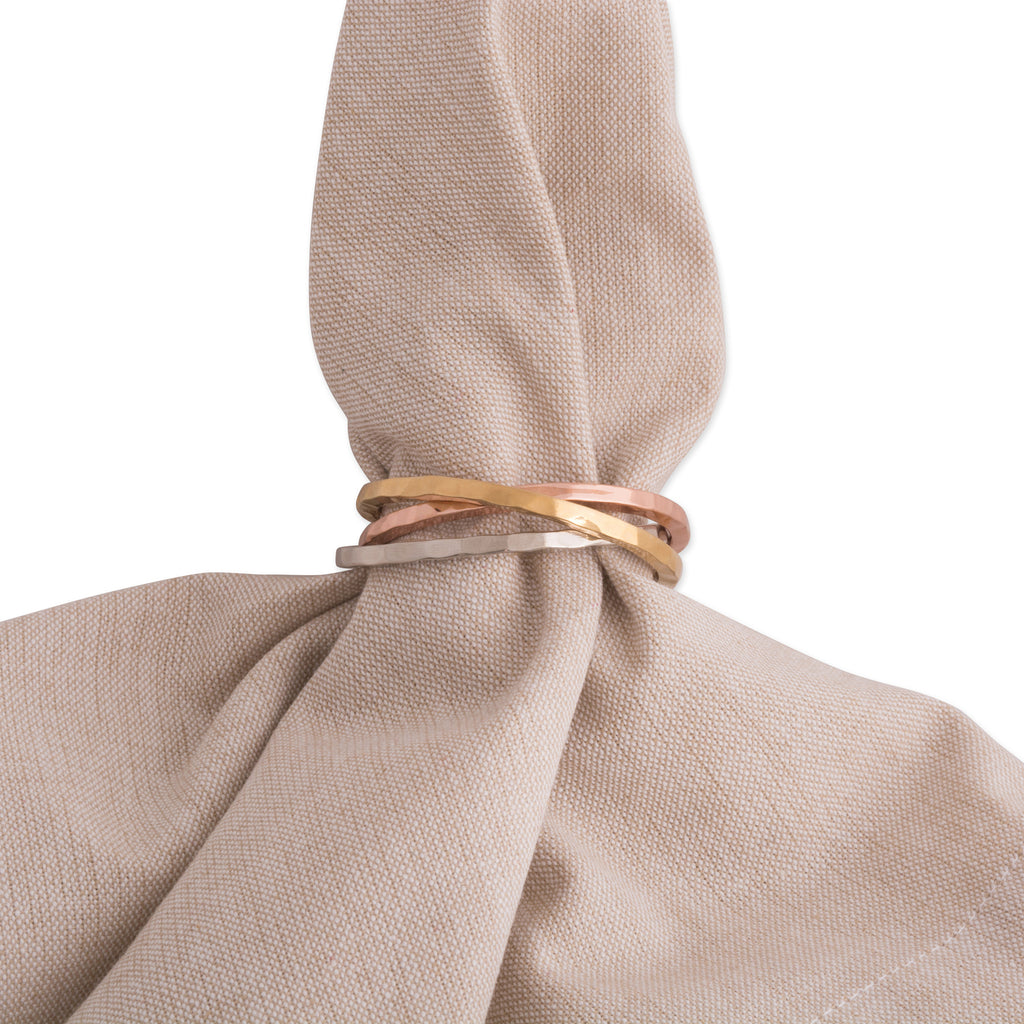 DII Tri Color Intertwined Napkin Ring (Set of 6)