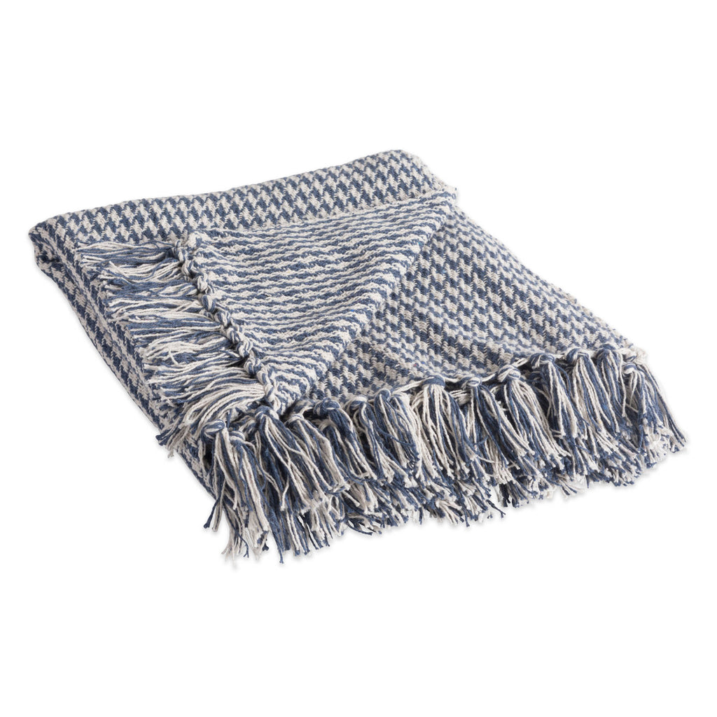 French Blue Houndstooth Throw