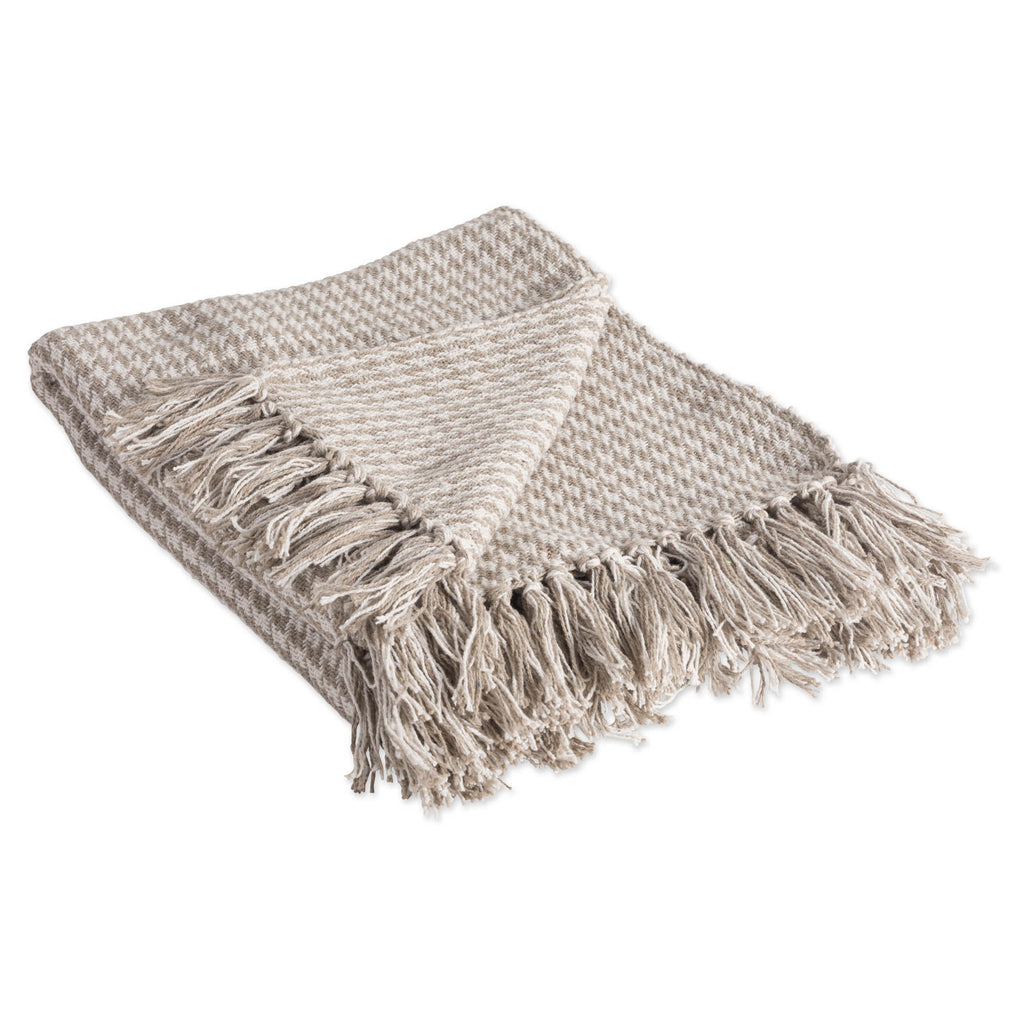Stone Houndstooth Throw