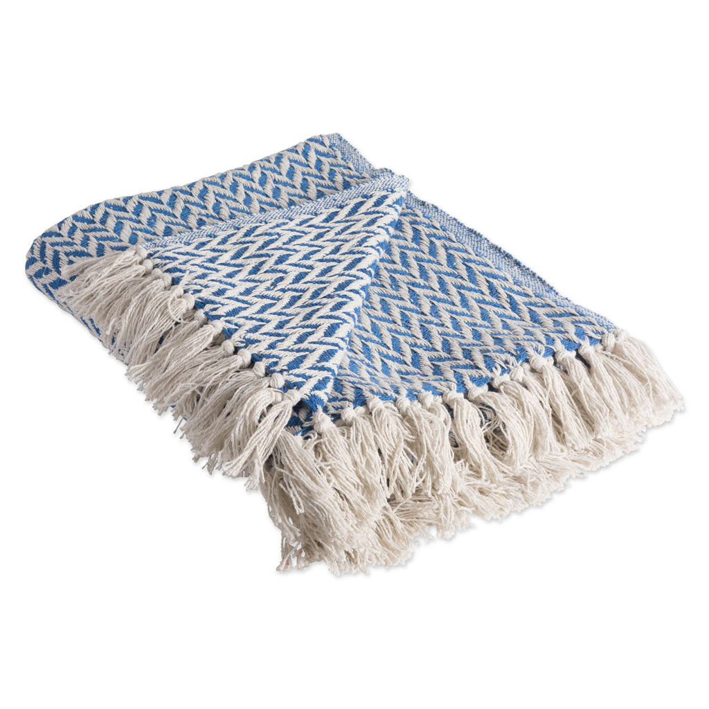Silverlake Blue Zig-Zag Throw