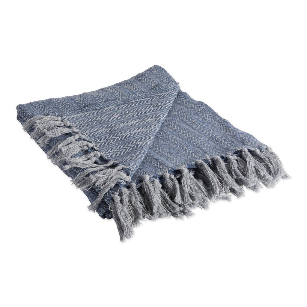 French Blue Tonal Textured Throw