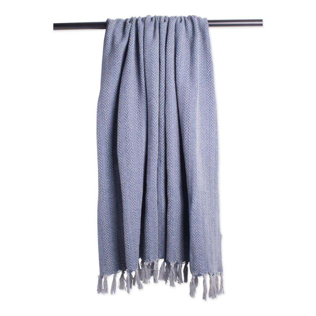 DII French Blue Tonal Textured Throw
