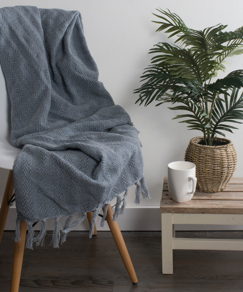 DII Cool Gray Solid Textured Throw