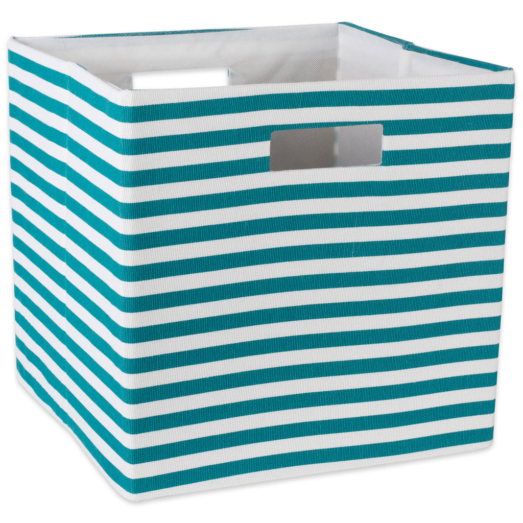 Polyester Cube Pinstripe Teal Square 13x13x13