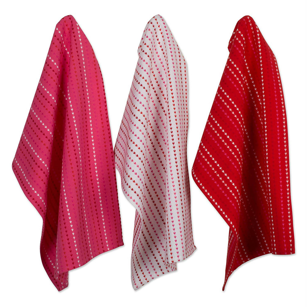 Hearts Dobby Stripe Dishtowel & Dishcloth Set/6