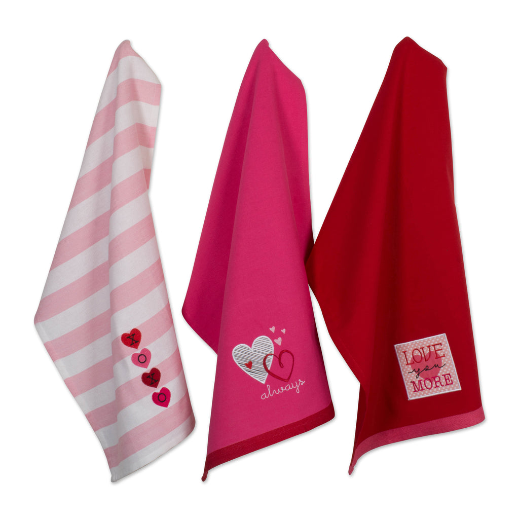 Asst Valentines Day Embroidered Dishtowels Set/3