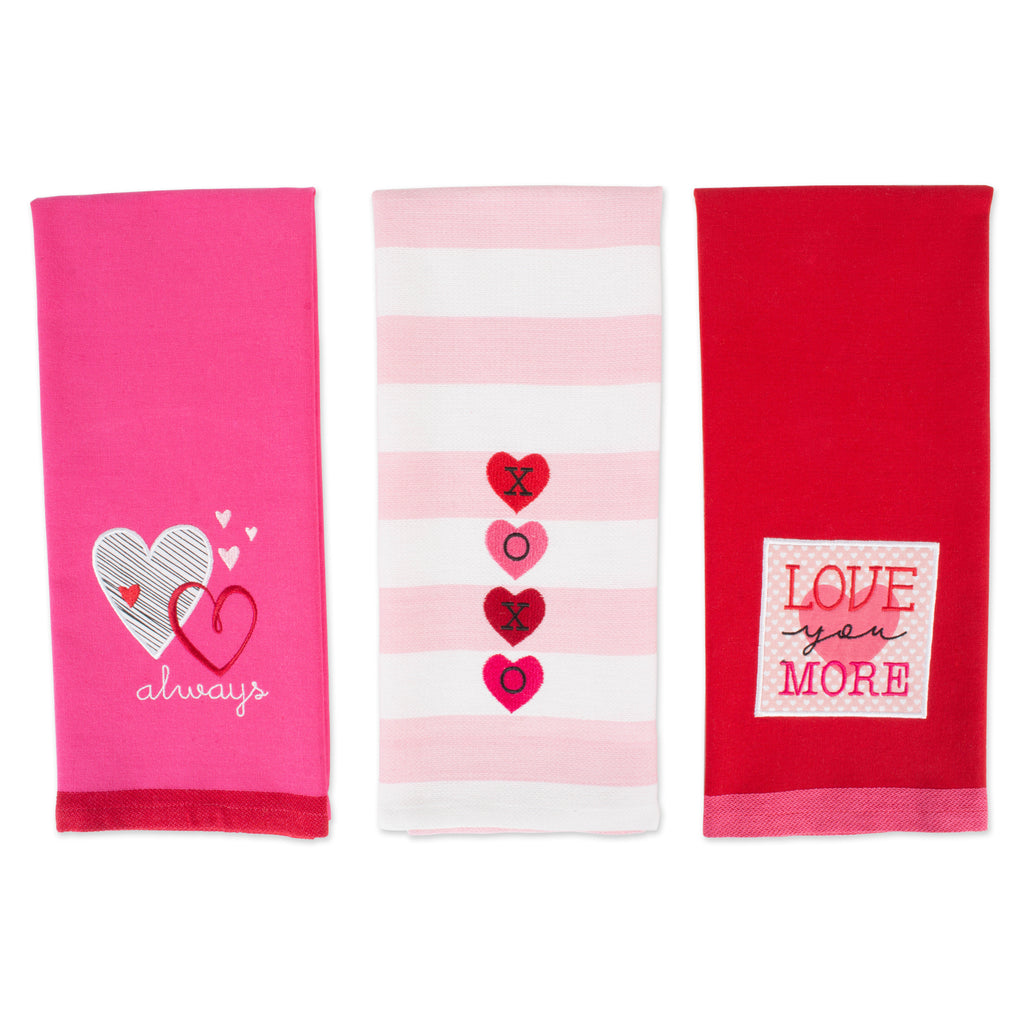 DII Assorted Valentines Day Embroidered Dishtowels (Set of 3)