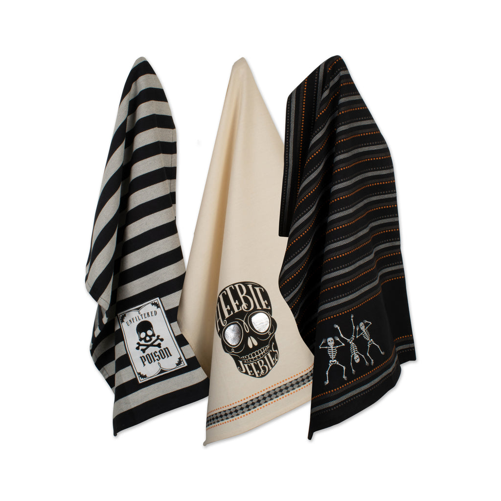 Asst Skeleton Embellished Dishtowel Set/3