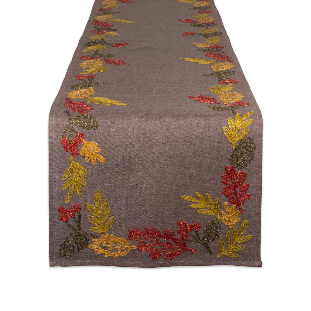 Shimmering Leaves Table Embroidered Runner