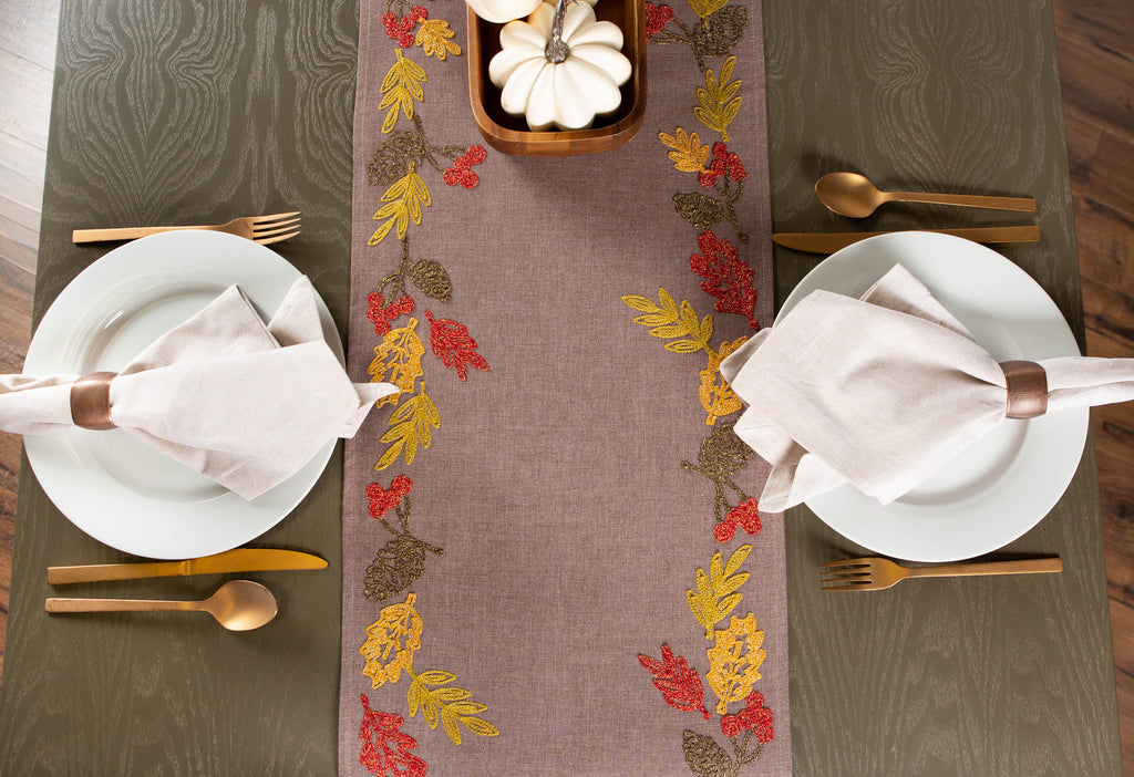 DII Shimmering Leaves Table Embroidered Runner, 14x70""