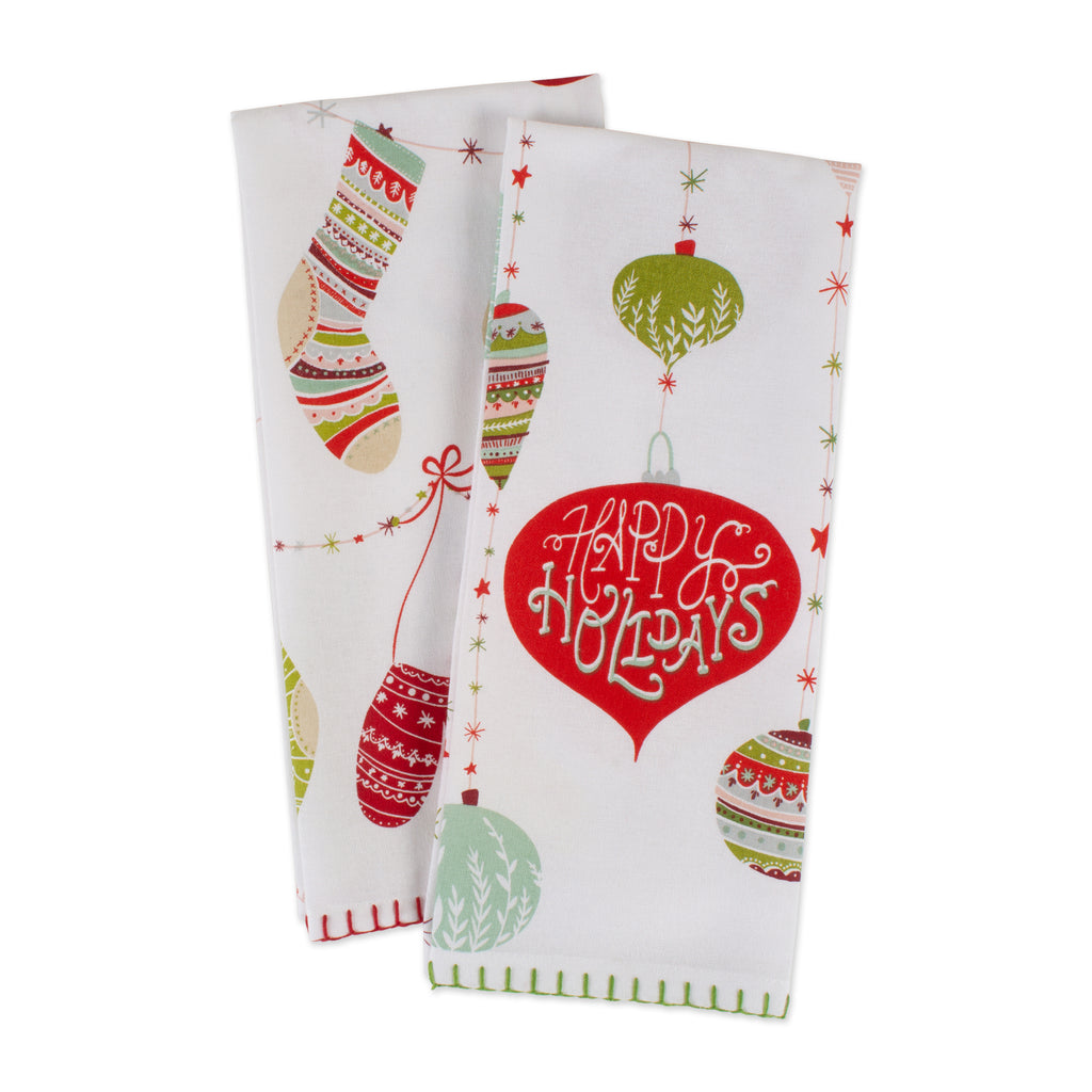 DII Assorted Christmas Trimmings Printed Dishtowel (Set of 2)