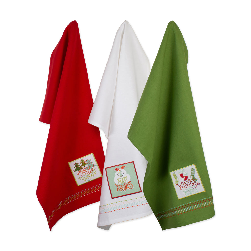 Asst Cozy Christmas Embellished Dishtowel Set/3