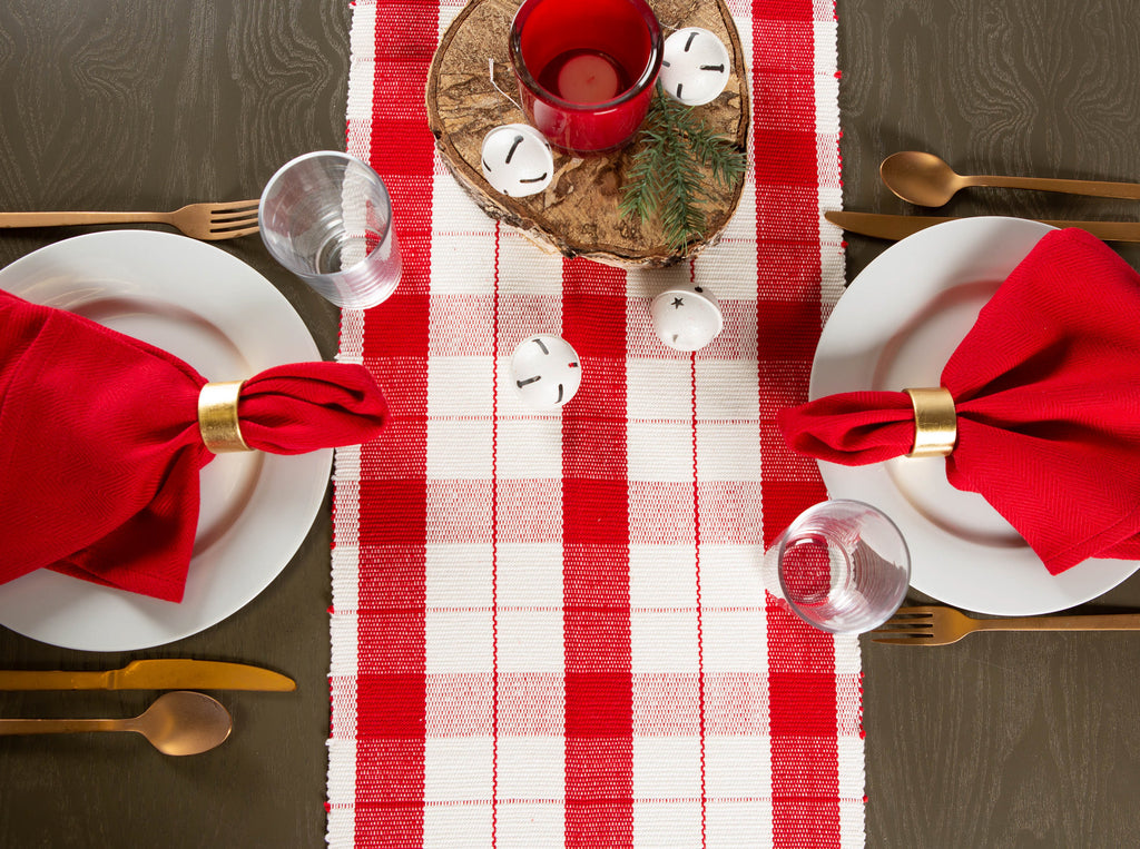 DII Red Tinsel Plaid Fringed Table Runner, 13x72""