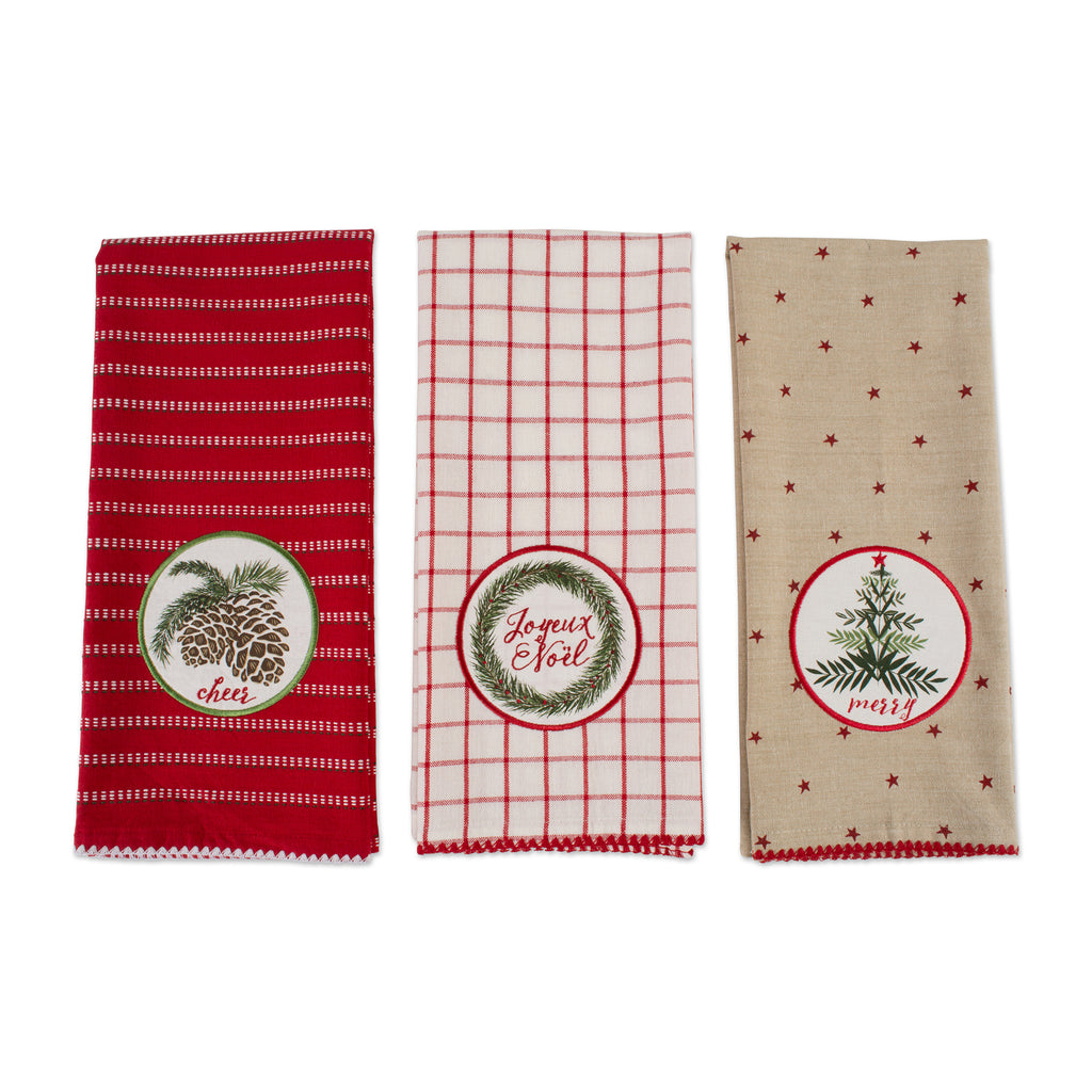 DII Assorted Noel Embellished Dishtowel (Set of 3)