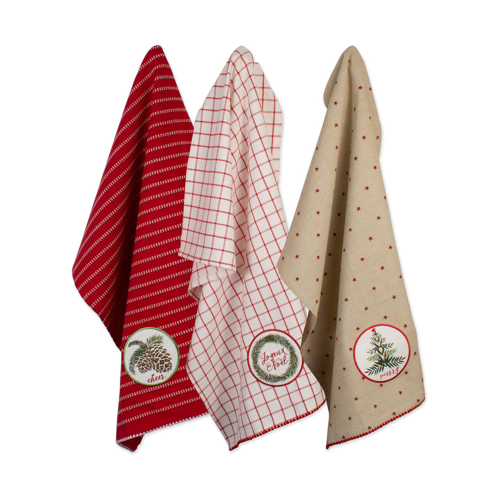 Asst Noel Embellished Dishtowel Set/3