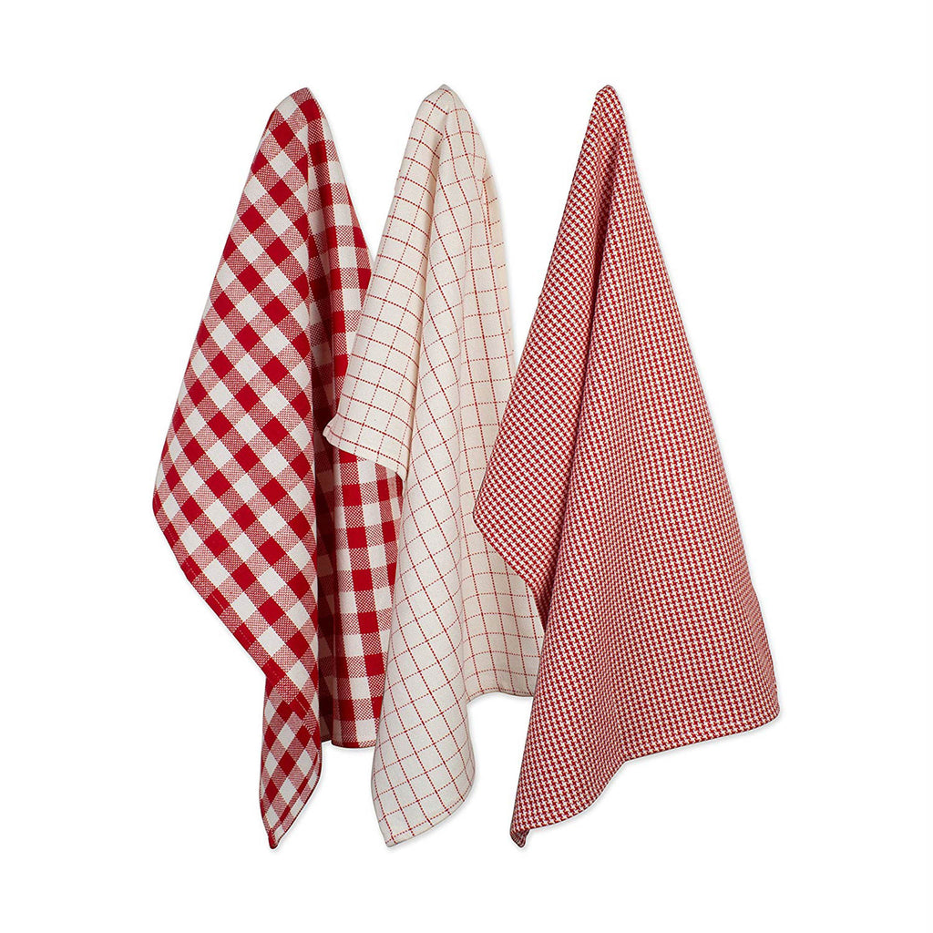 Holiday Checks Heavyweight Dishtowel & Dishcloth Set/6