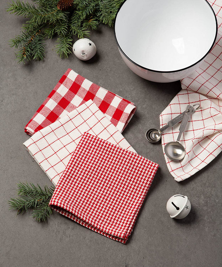 DII Holiday Checks Heavyweight Dishtowel & Dishcloth (Set of 6)