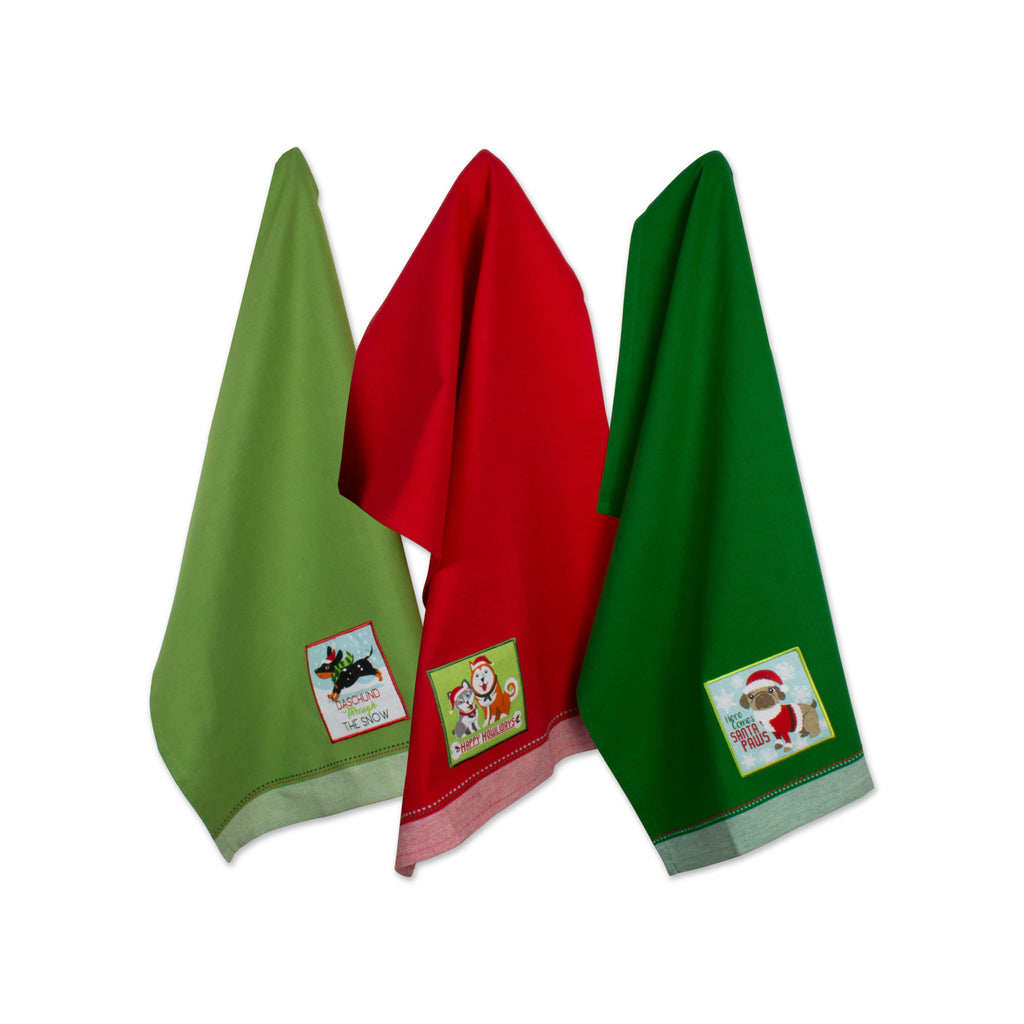 Asst Holiday Pup Embellished Dishtowel Set/3