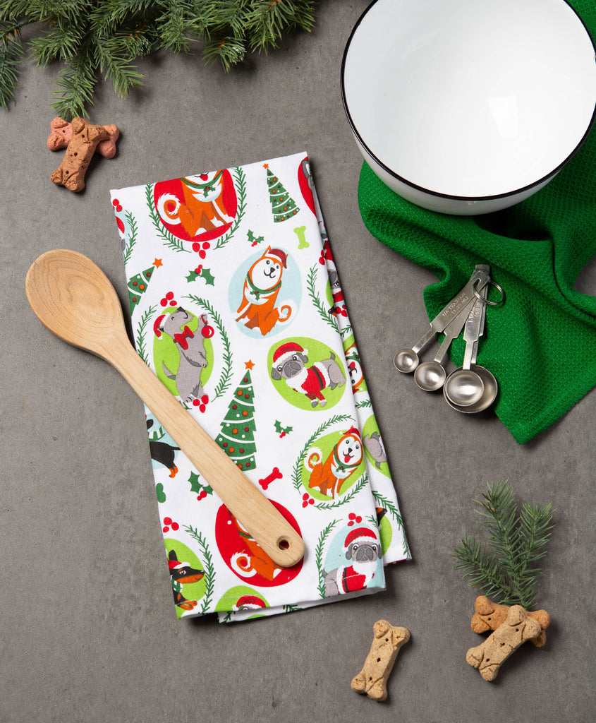 DII Assorted Holiday Pups Printed Dishtowel (Set of 2)