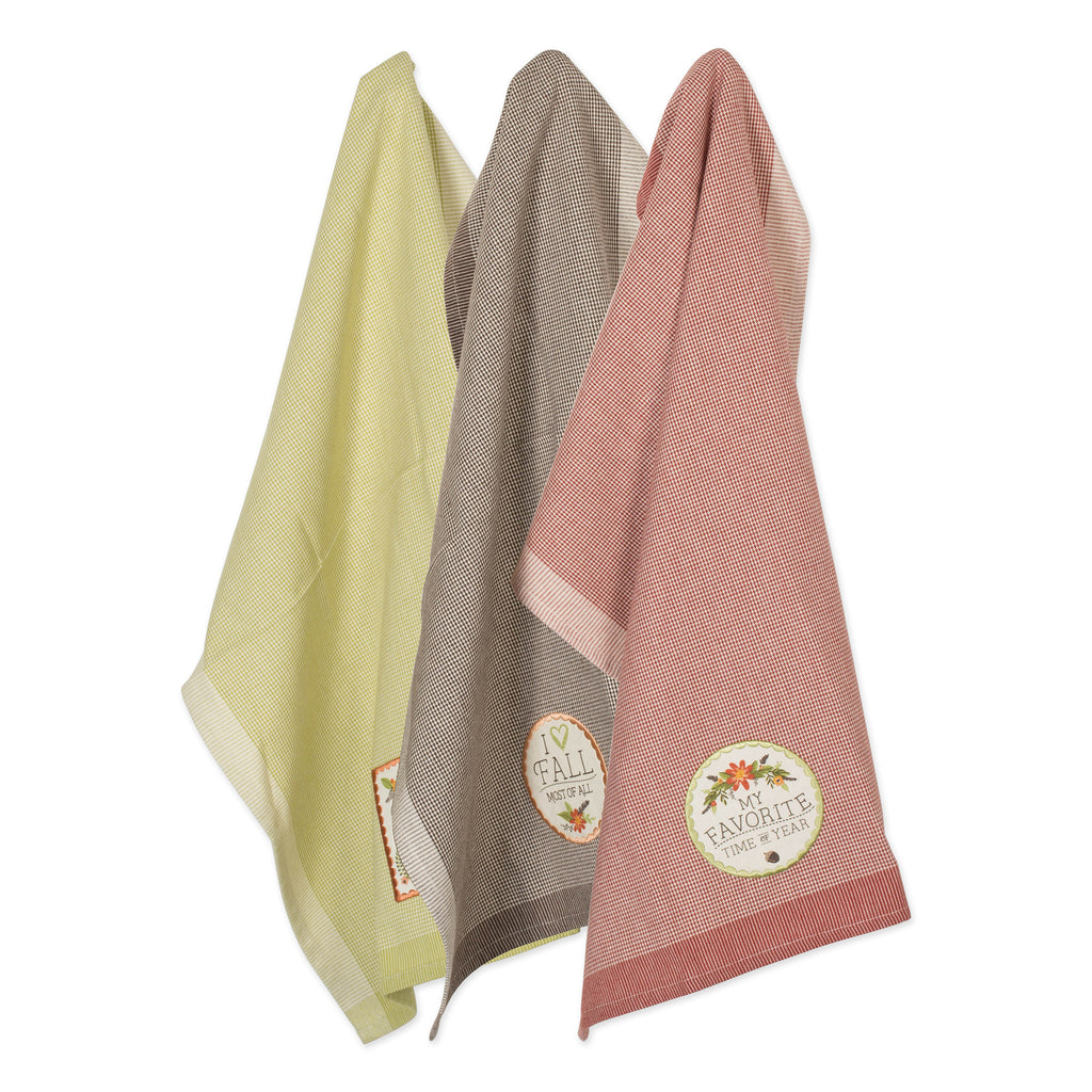 Asst Fall In Love Embellished Dishtowel Set/3