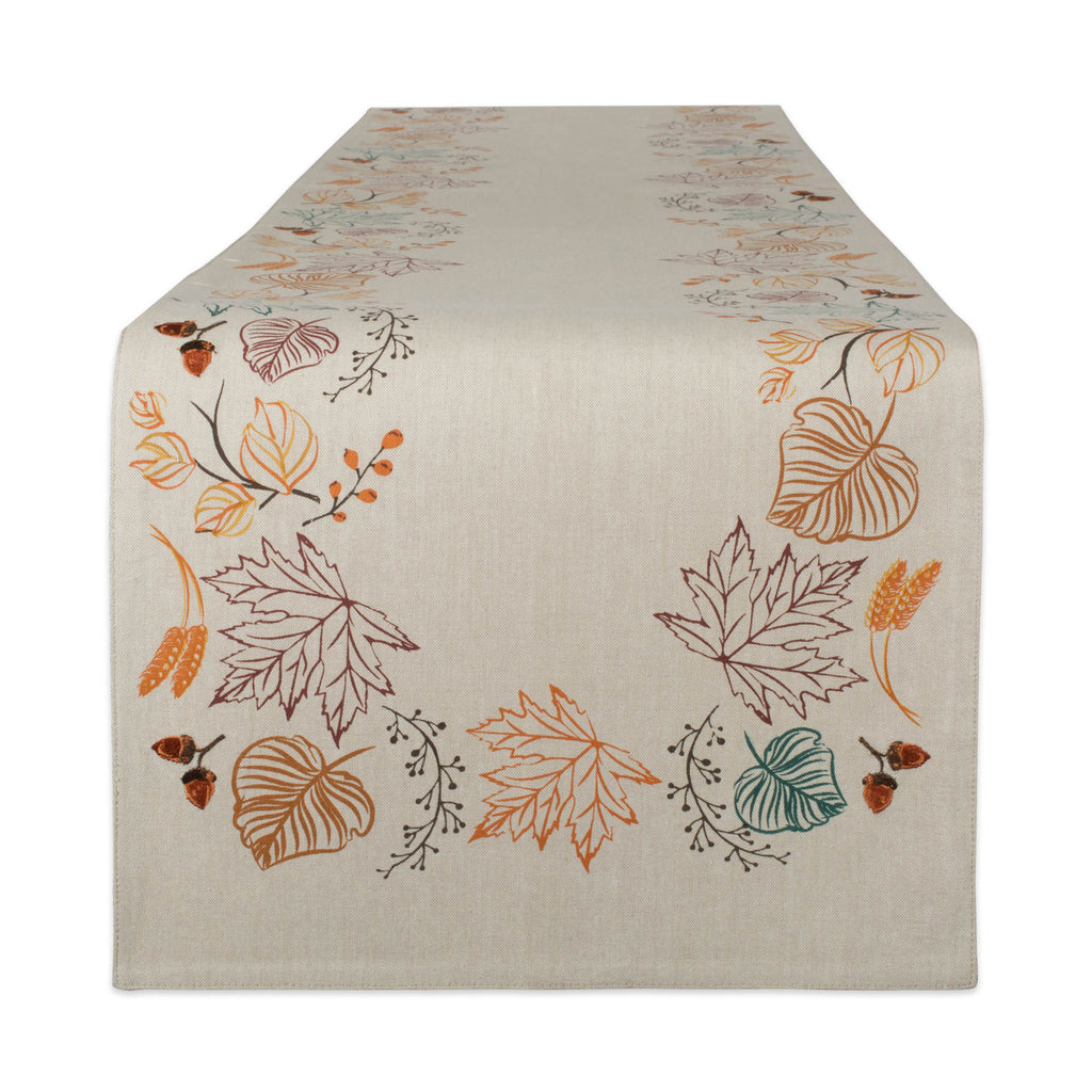 Autumn Leaves Embellished Table Runner 14x72