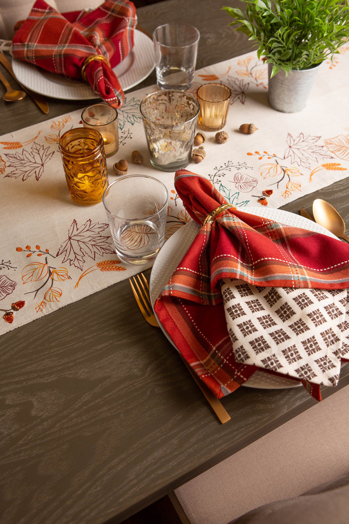 DII Autumn Leaves Embellished Table Runner, 14x72""