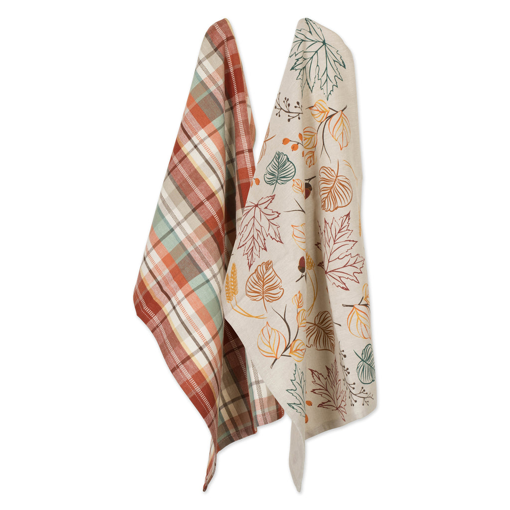 Asst Autumn Leaves Dishtowel Set/2