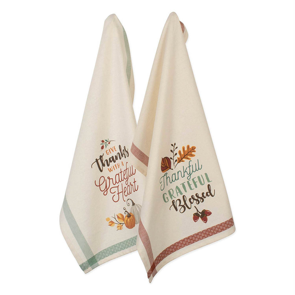 Asst Grateful Fall Printed Dishtowel Set/2