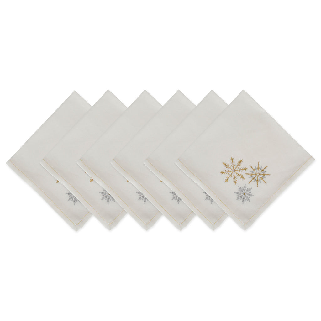 Sparkle Snowflakes Embroidered Napkin Set/6