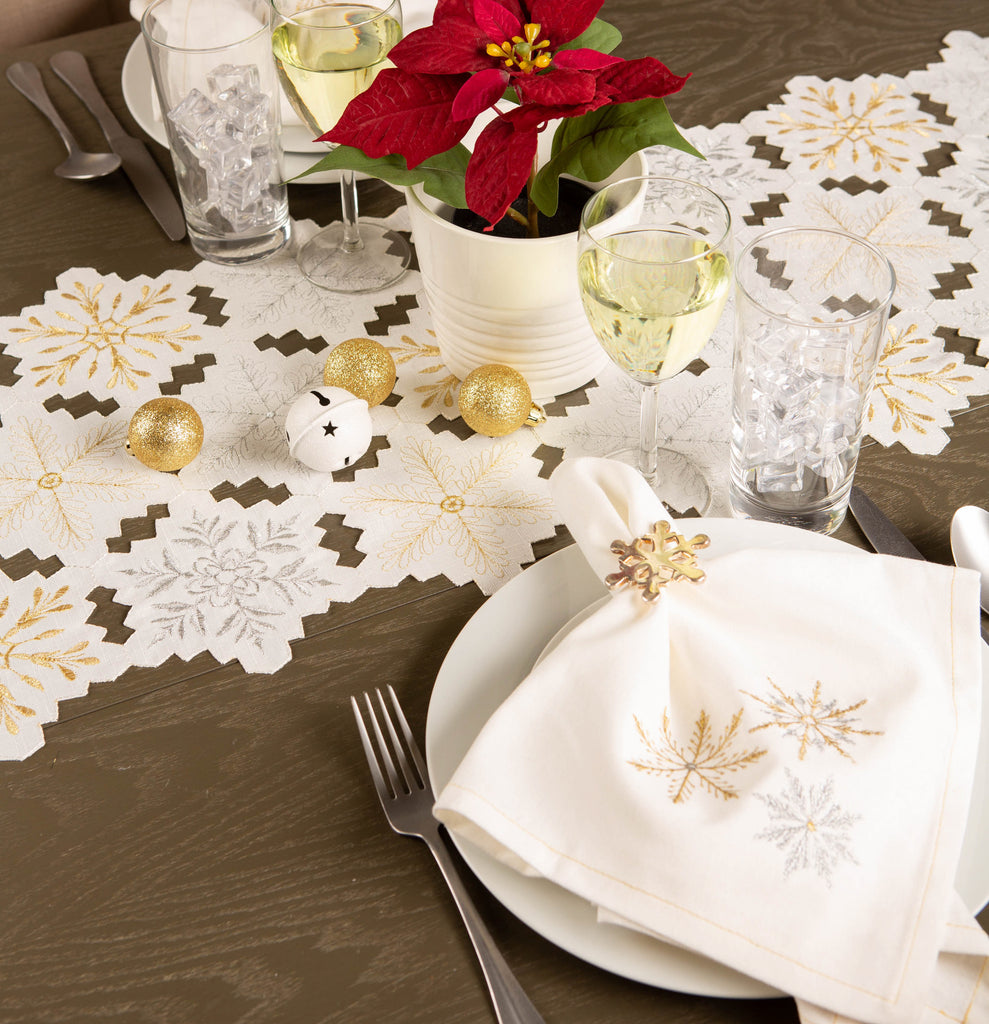 DII Sparkle Snowflakes Embroidered Napkin (Set of 6)