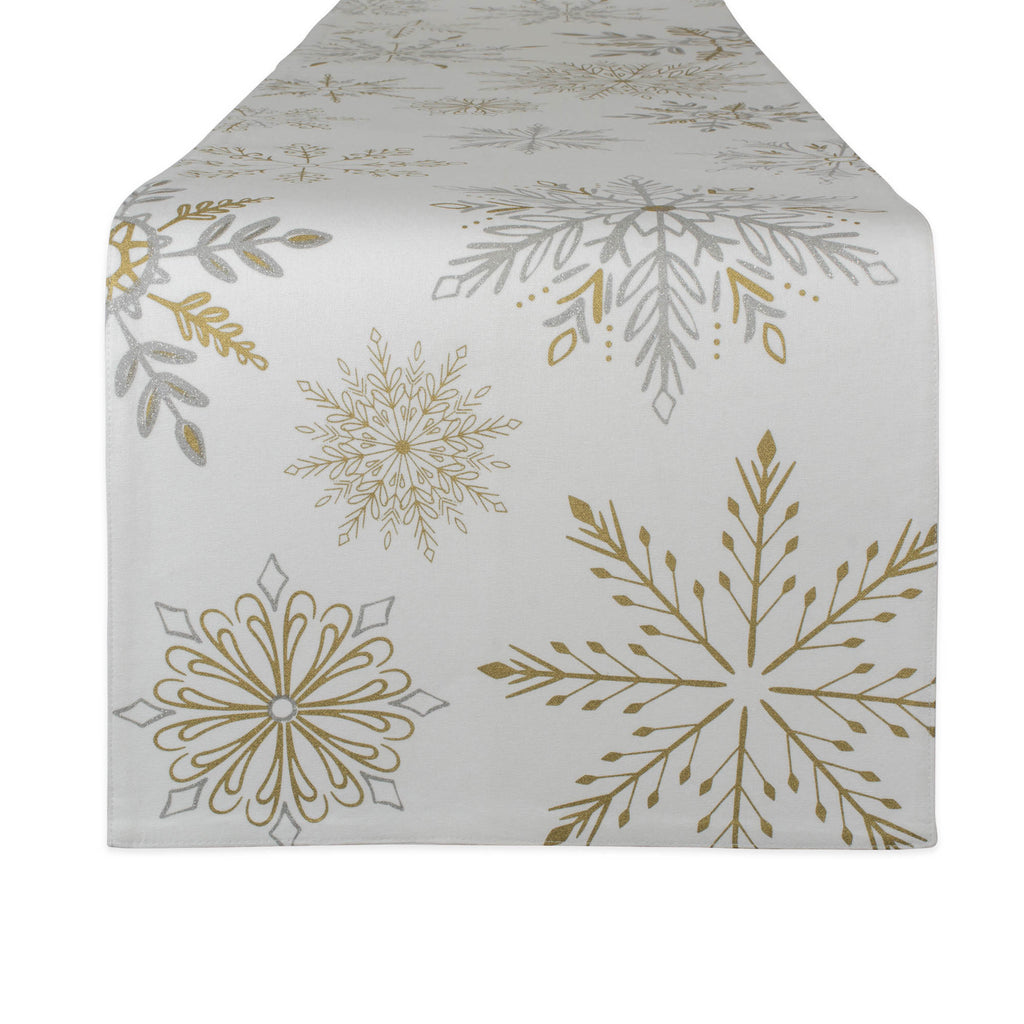 Snowflake Sparkle Printed Table Runner 14x72