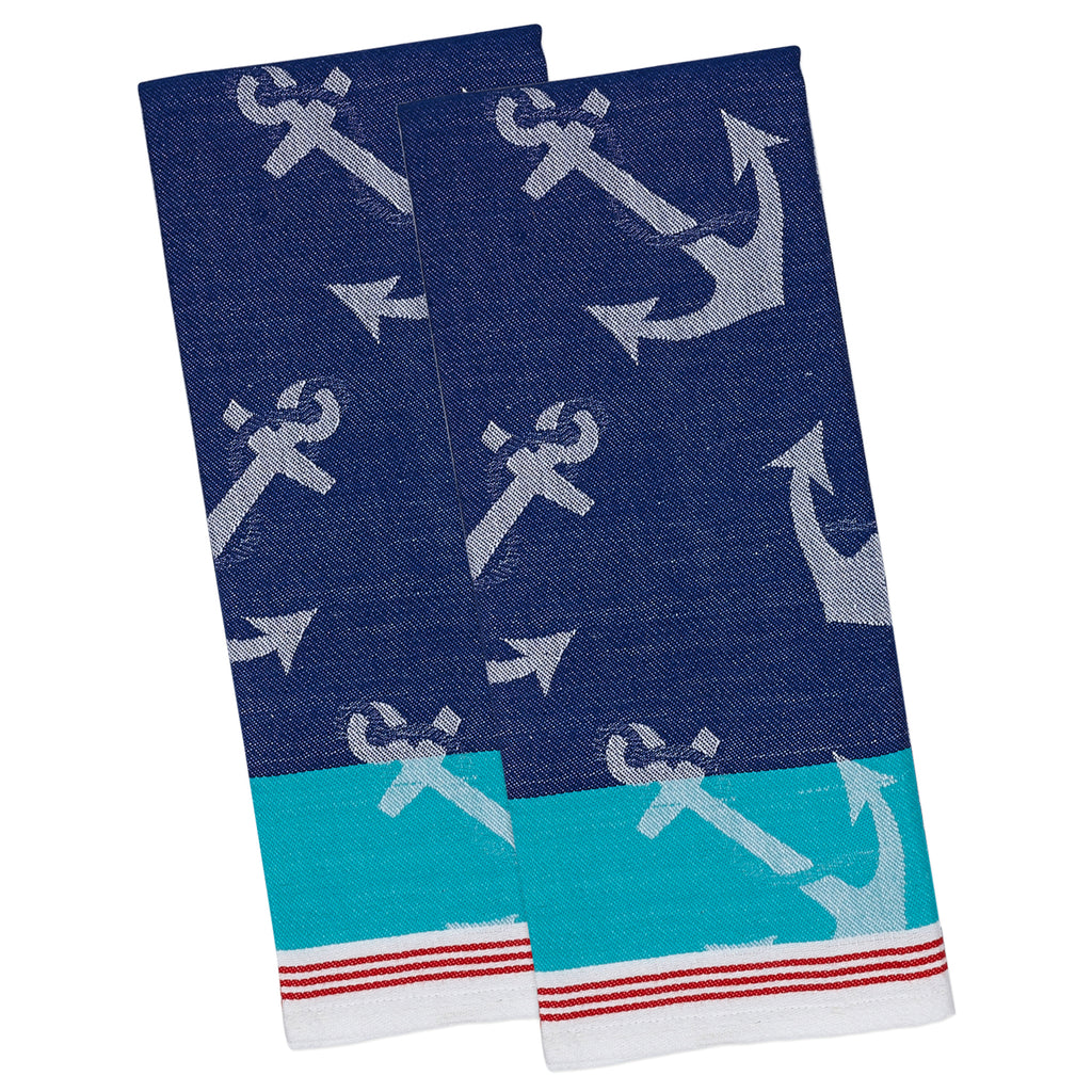 Anchors Away Jacquard Dishtowel S/2
