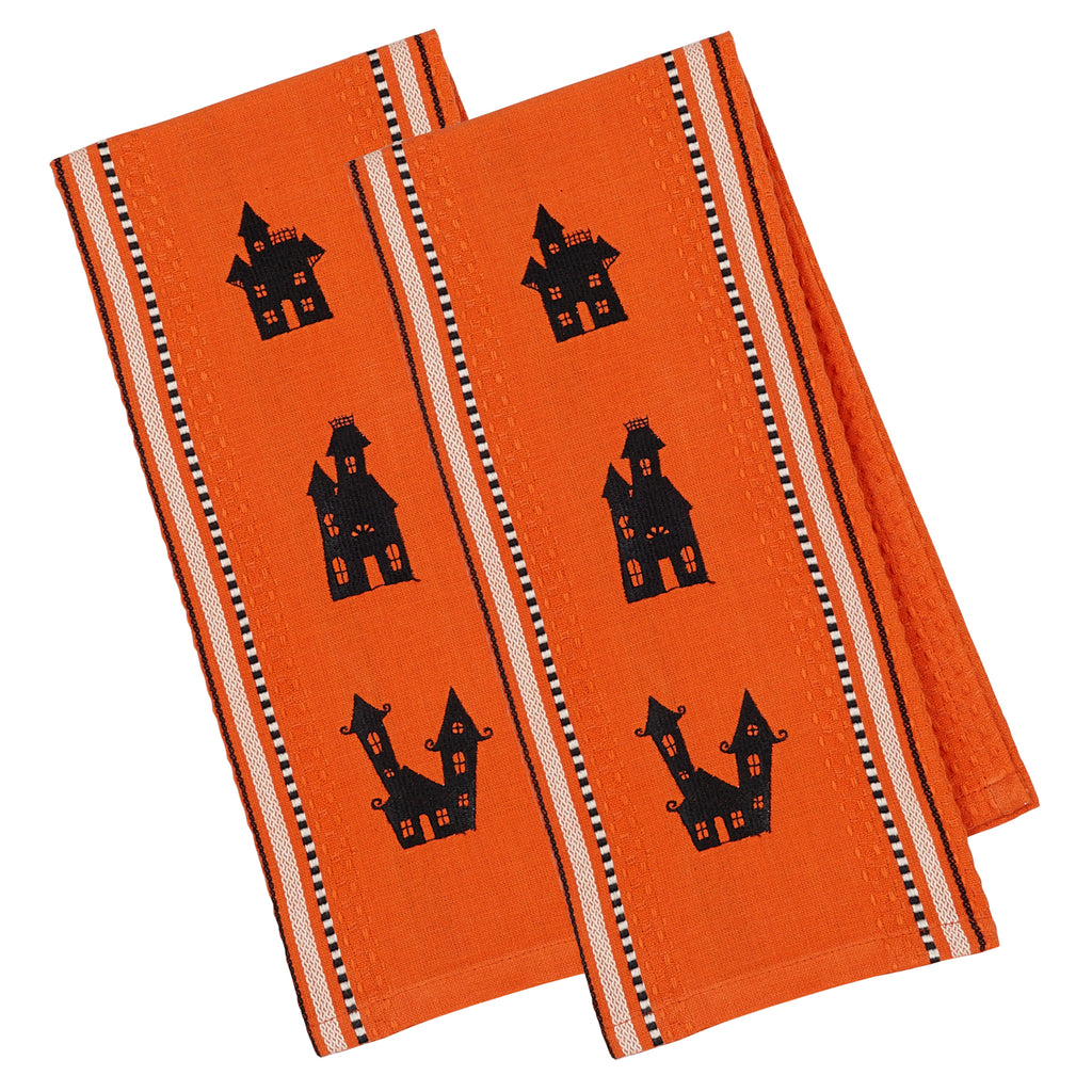 Haunted Houses Emb Dishtowel