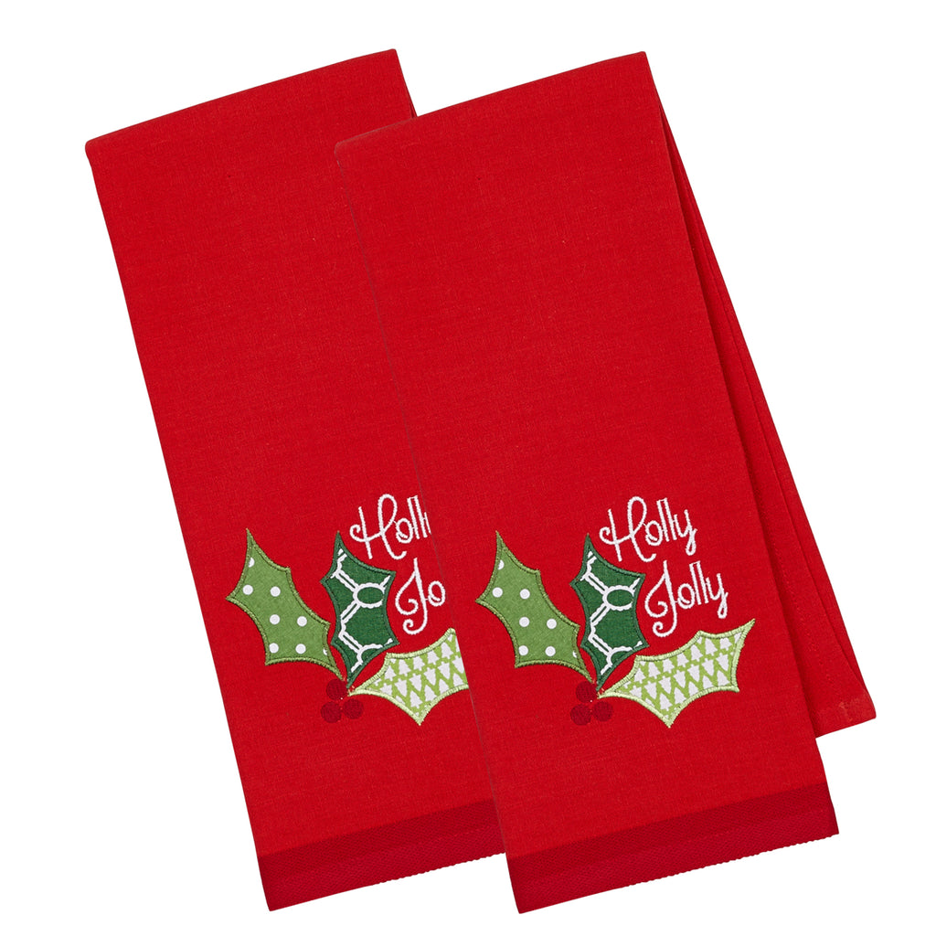 Holly Jolly Emb Dishtowel